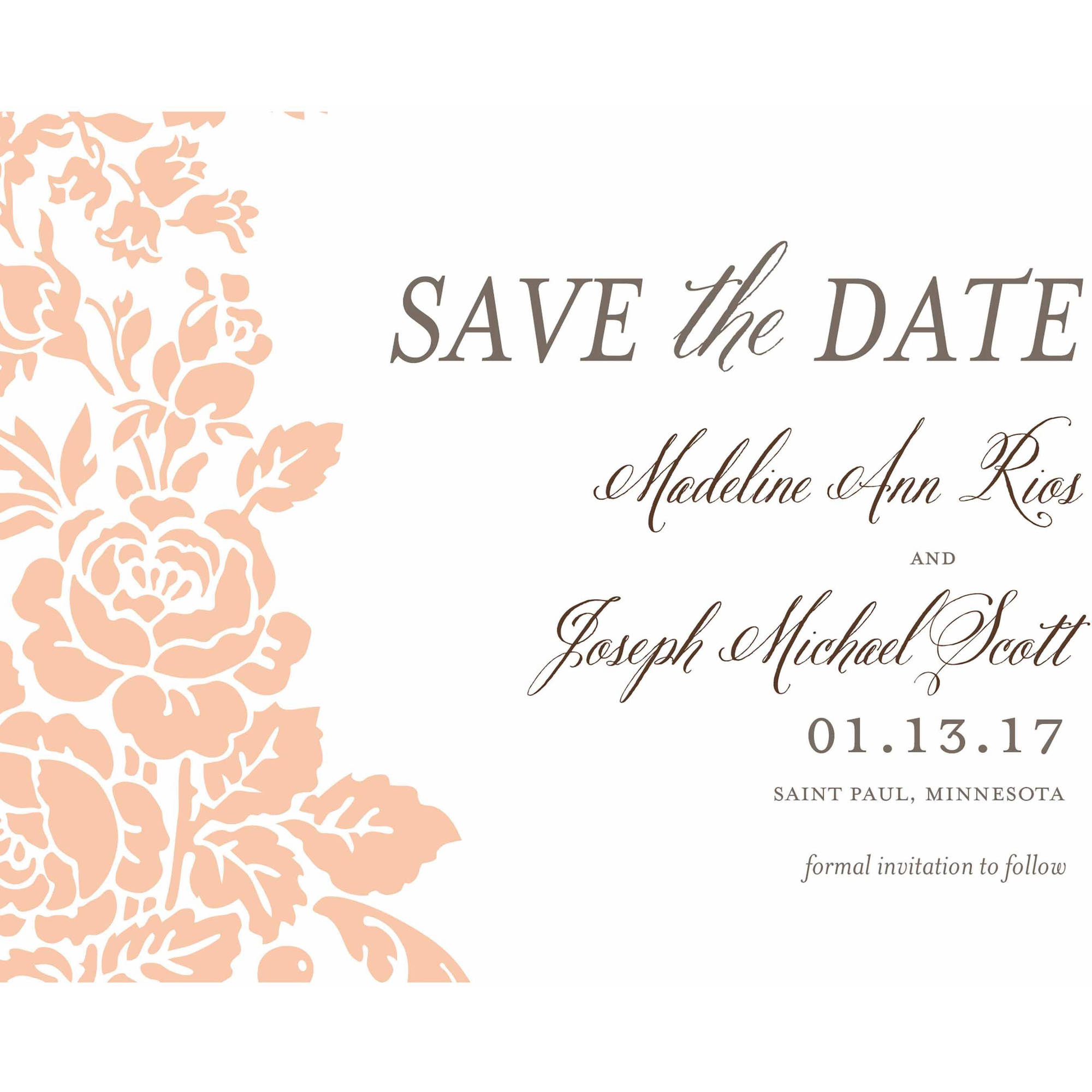 Classic Floral Standard Save the Date