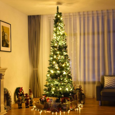 Gymax 8Ft PVC Artificial Pencil Christmas Tree Slim w/ Stand Home Holiday Decor Green ()