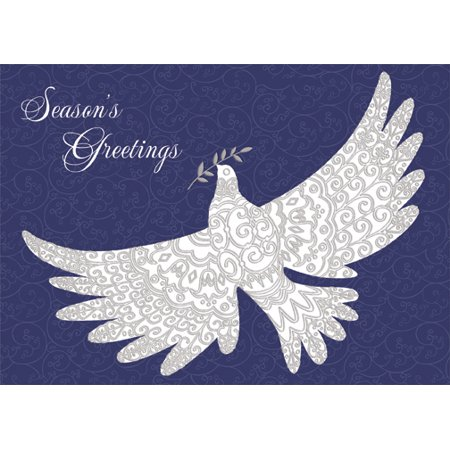 - Designer Greetings Embossed Dove on Embossed Swirls Box of 18 Peace Christmas Cards