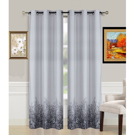 "2-Piece TREE Printed Lined Blackout Grommet Window Curtain Treatment, Set of Two (2) Room Darkening Panels 37"" Wide x 84"" Length (Each)"