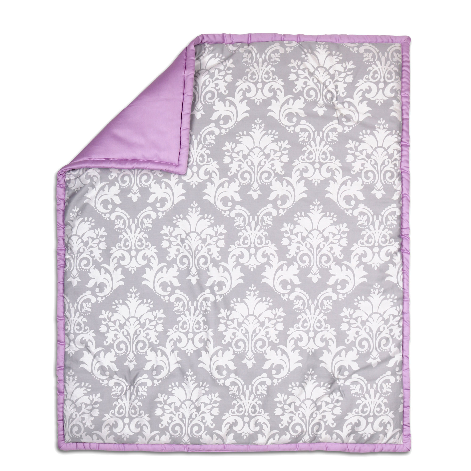 Peanut Shell Baby Crib Quilt - Grey Floral Damask and Pur...