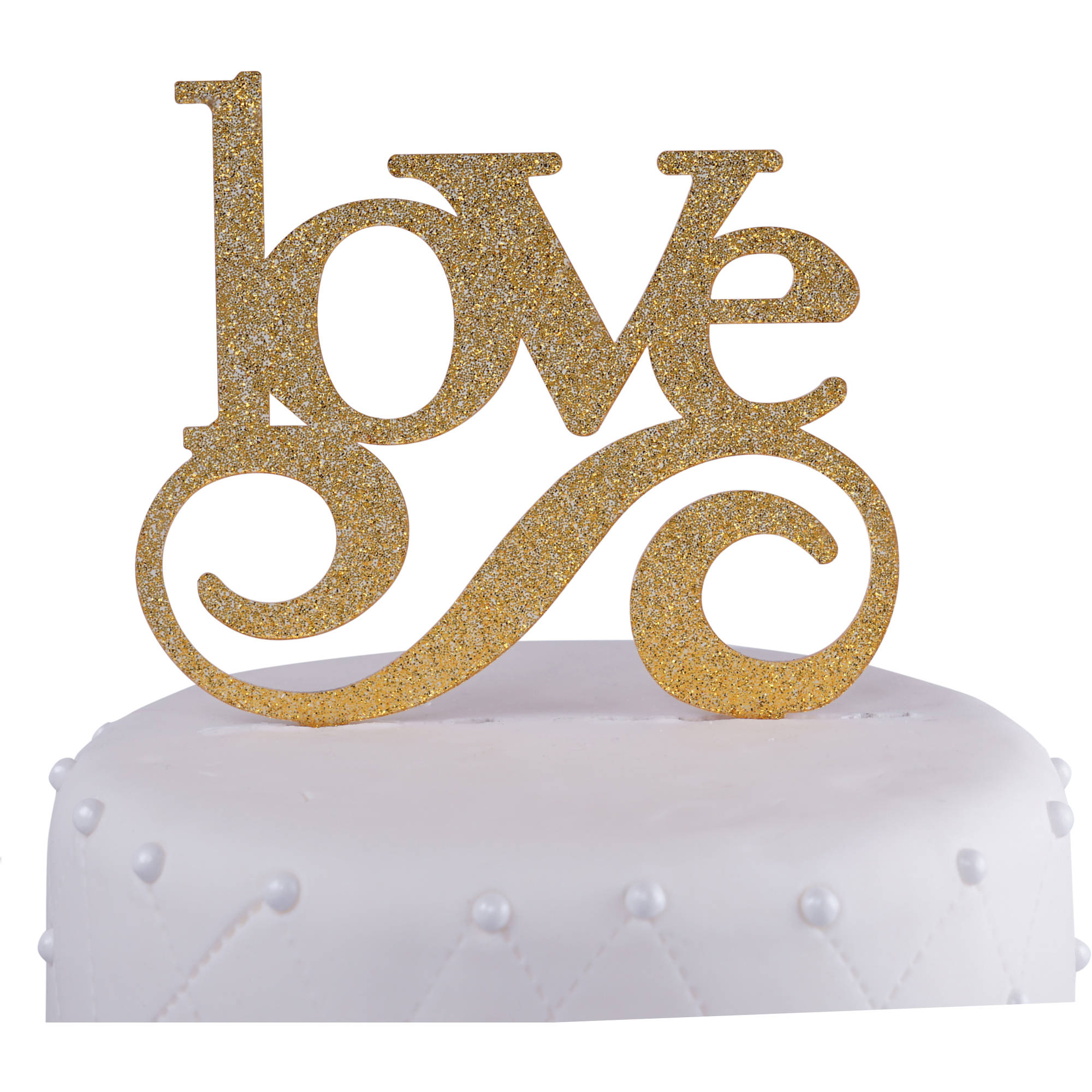 Unik Occasions Love Wedding Acrylic Cake Topper, Gold Glitter