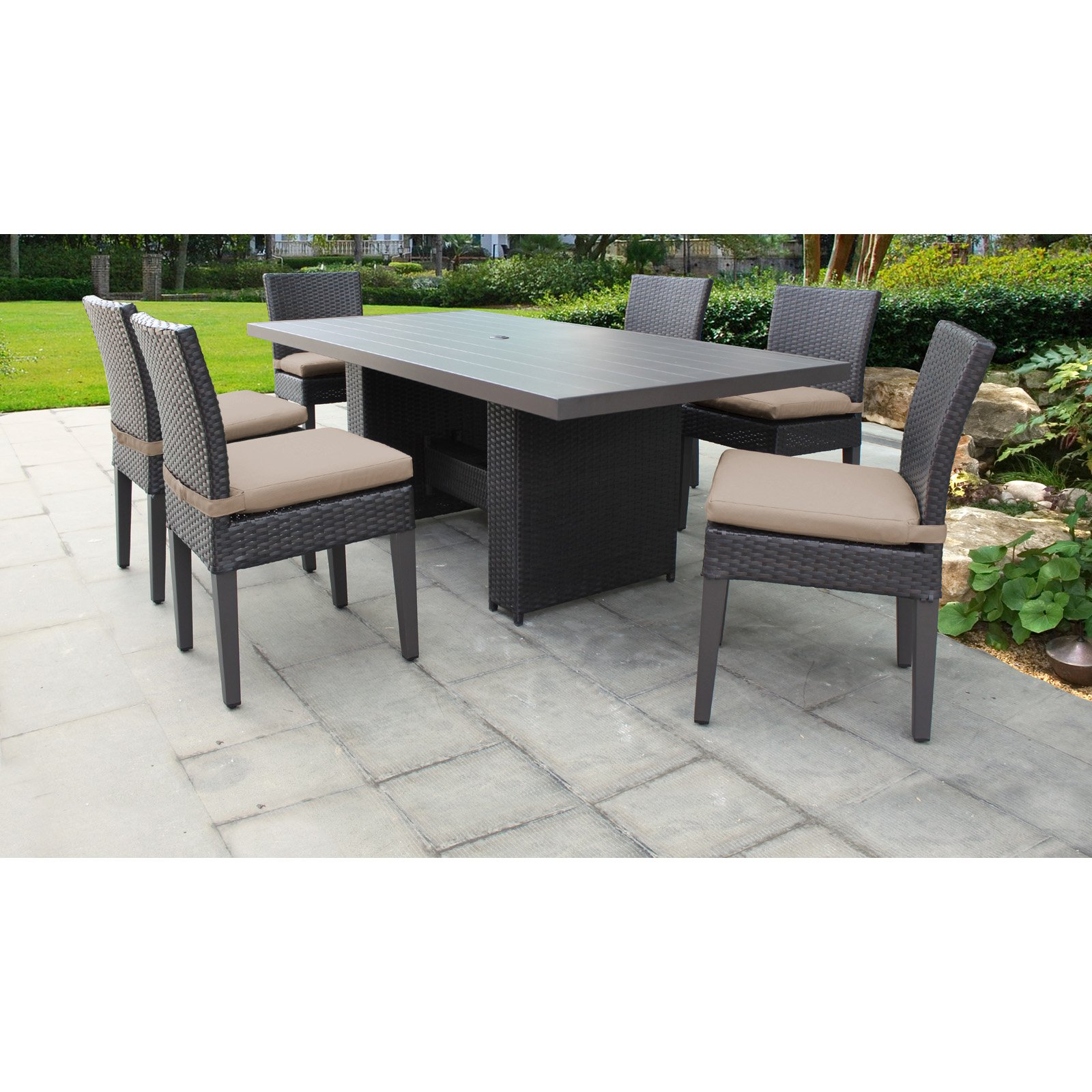 Tk Classics Belle Wicker 7 Piece Patio Dining Set With