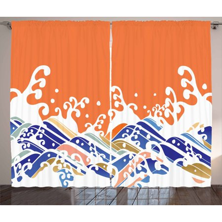 Japanese Wave Curtains 2 Panels Set, Vibrant Colorful Waves Illustration Intense Spindrift Nature Summer Surf Asia, Window Drapes for Living Room Bedroom, 108W X 63L Inches, Multicolor, by Ambesonne