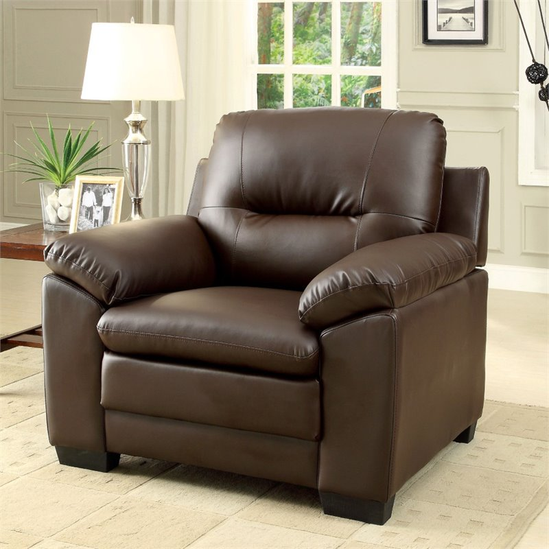 Furniture of America Pallan Leather Accent Chair in Brown