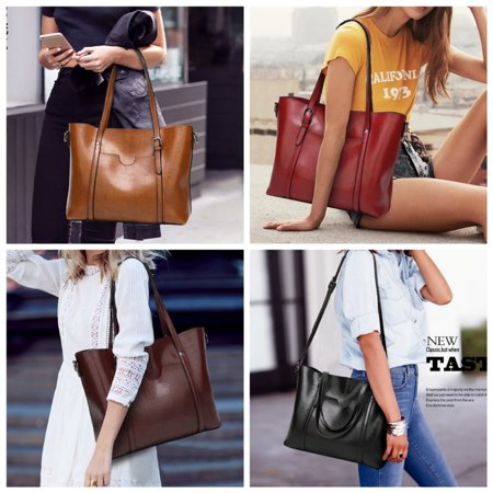 Topumt Women Oil Wax Leather Big Capacity Shoulder Bag ()