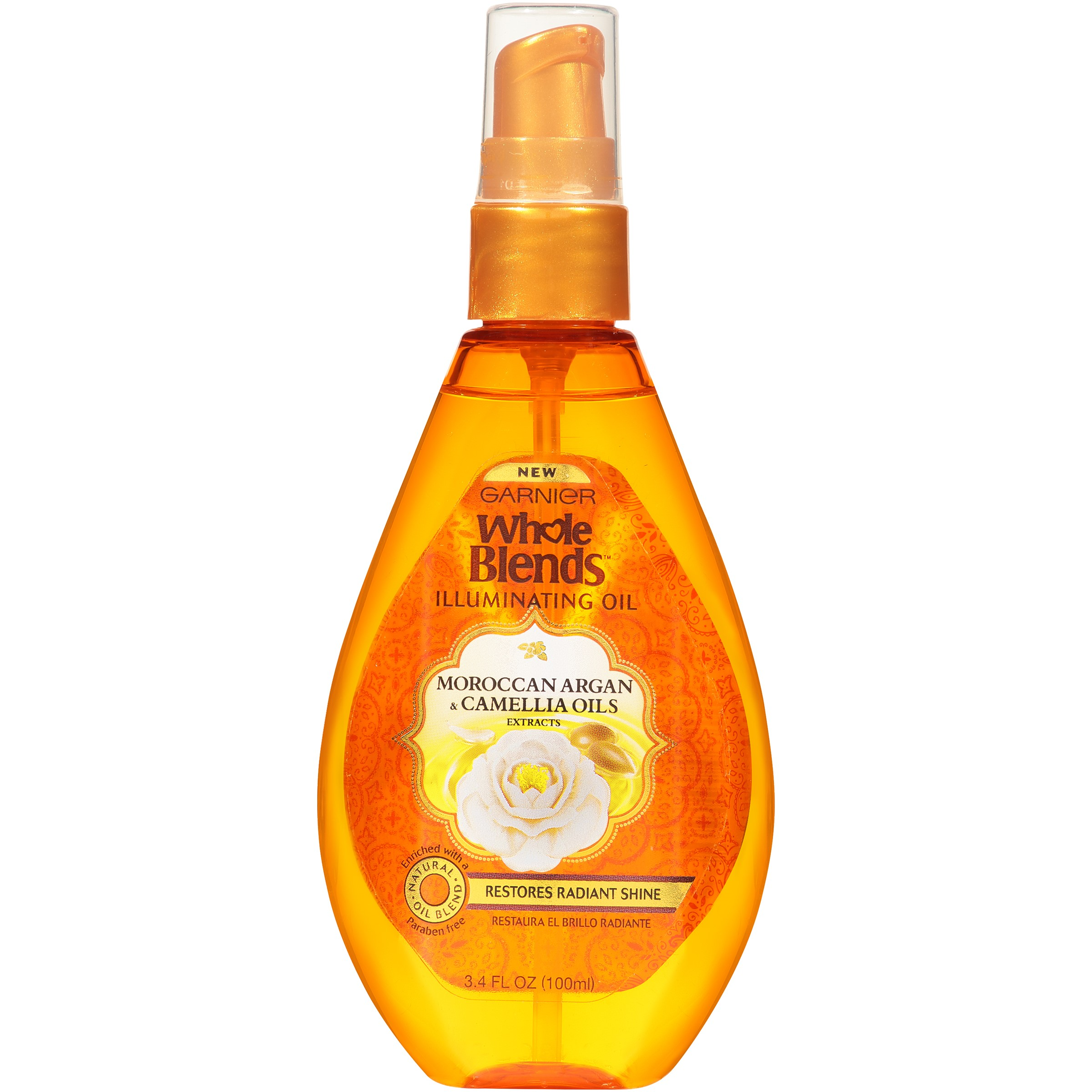 Garnier Whole Blends Illuminating Hair Oil, 3.4 Fl Oz