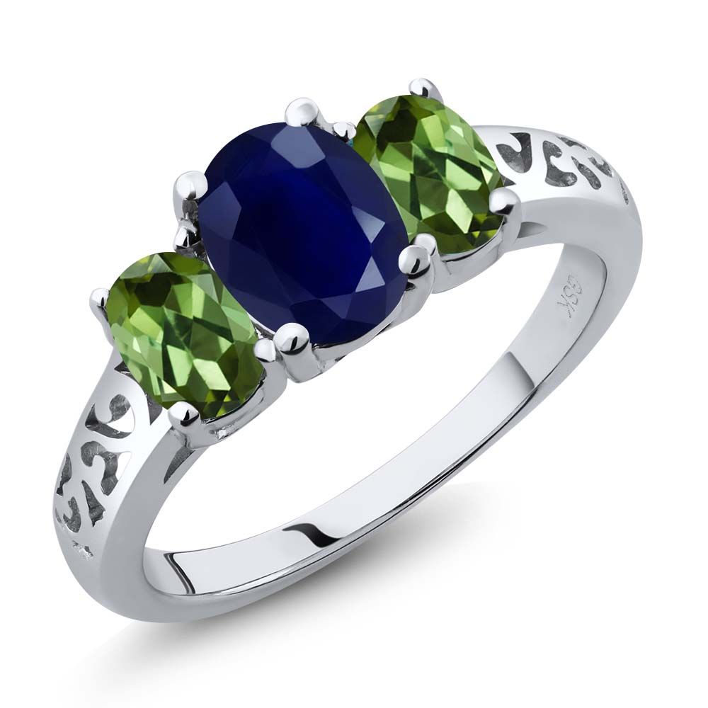 2.79 Ct Oval Blue Sapphire Green Tourmaline 14K White Gold 3-Stone Ring by