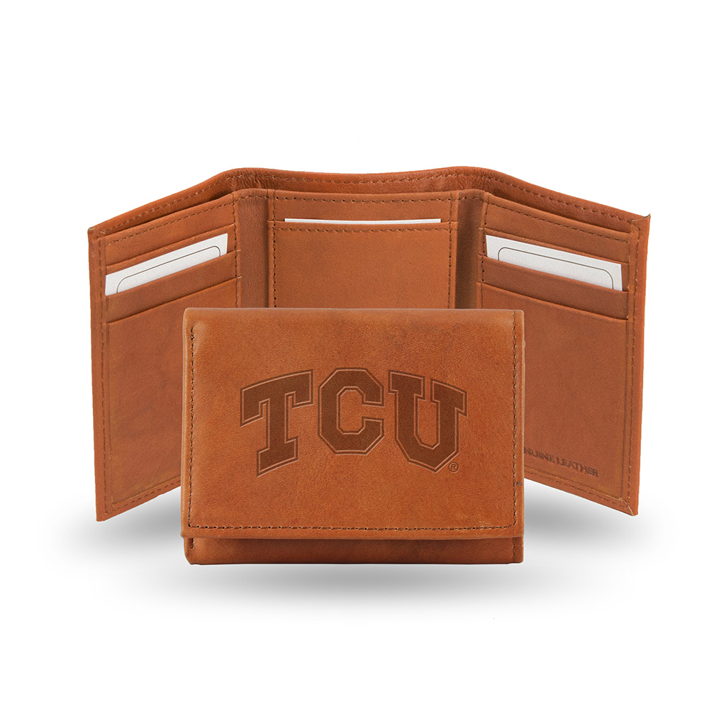 Texas Christian Horned Frogs  Tri-Fold Wallet (Pecan Cowhide)