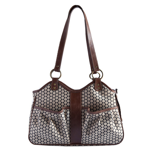 Petote Petote Metro Espresso Dot Pet Carrier with Leather Trim
