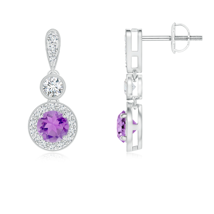 Angara Round Amethyst Dangle Earrings with Diamond Halo in White Gold voeVO