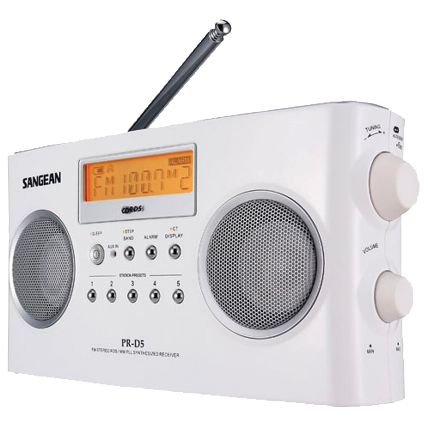 Sangean PRD5 Digital Portable Stereo Receivers with AM/FM Radio (White)