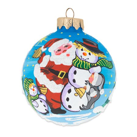 Snowman Glass Ball - Santa and Two Snowman Glass Ball Christmas Ornament 3.25 Inches