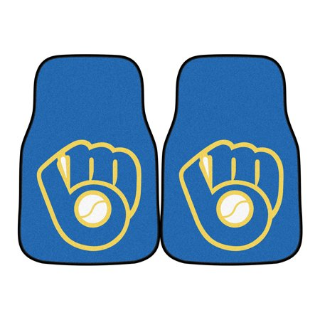 Milwaukee Brewers Car Mats (Milwaukee Brewers 2-Piece Primary Team Logo Carpet Car Mat Set - No)