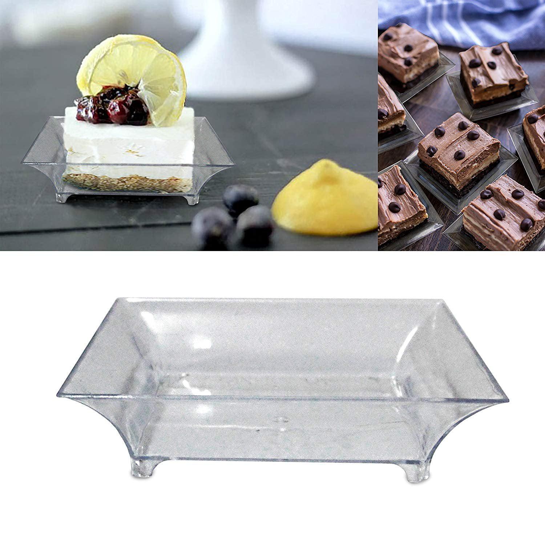 Minio Petite Square Mini Dessert Plates 2.5 x 2.5 Copper Pack of 10 Mini Plastic Dessert Plates