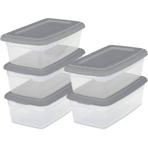Sterilite Set/5 - 6-Quart Storage Boxes - Multiple Colors (Available in Case of 6 or Single Unit)