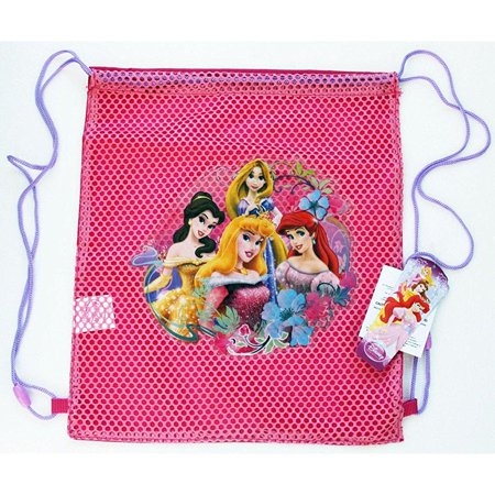 wholesale lot 12 pieces disney princess sling bags tote net front birthday party favors - sold in 12 pieces