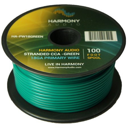 Harmony Audio HA-PW18GREEN Primary Single Conductor 18 Gauge Green Power or Ground Wire Roll 100 Feet Cable for Car Audio / Trailer / Model Train / Remote