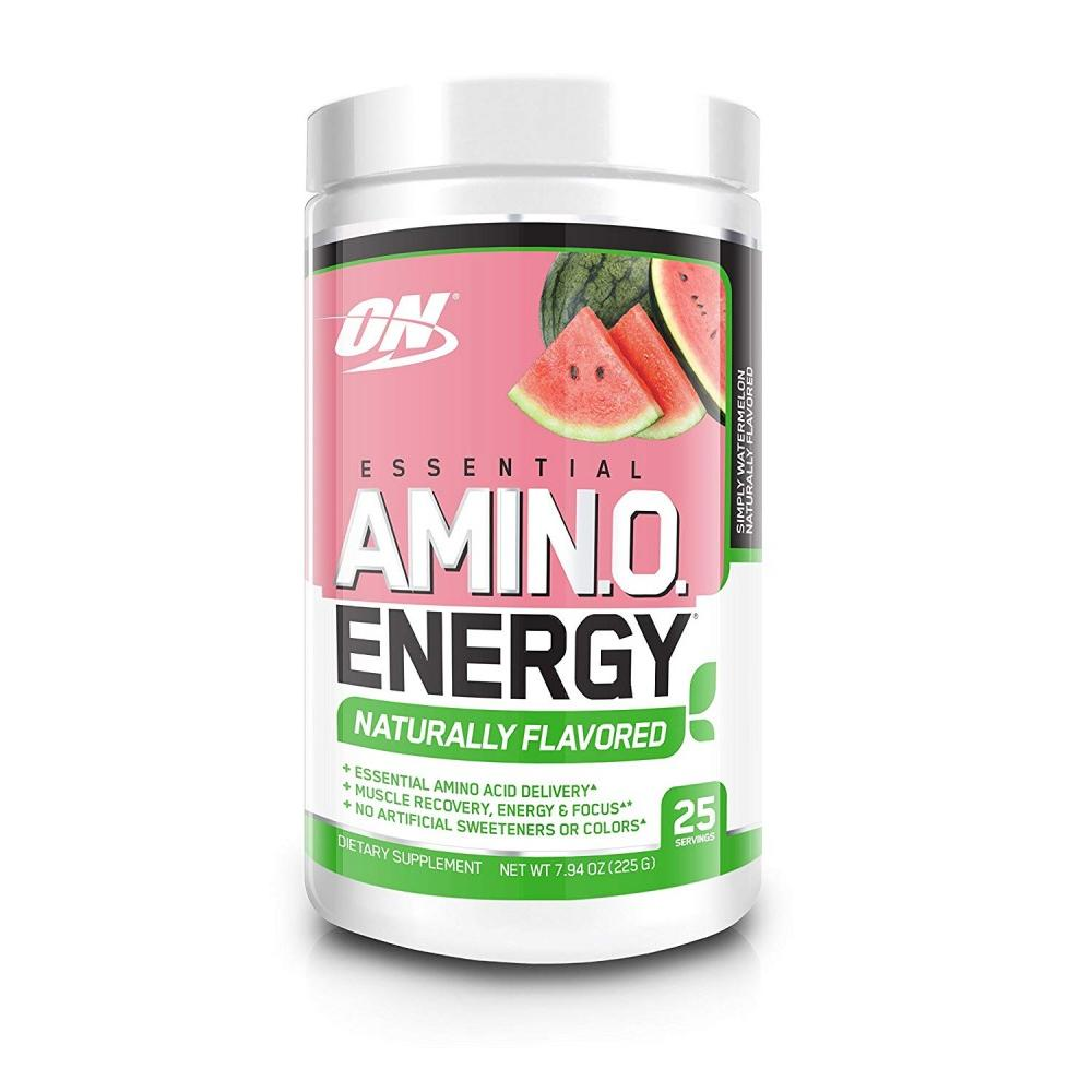 Optimum Nutrition Amino Energy Naturally Flavored Pre Workout + Essential Amino Acids, Watermelon, 25 Servings