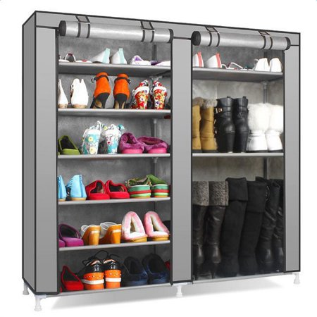Double Rows 9 Lattices Combination Style Shoe Cabinet Gray ()