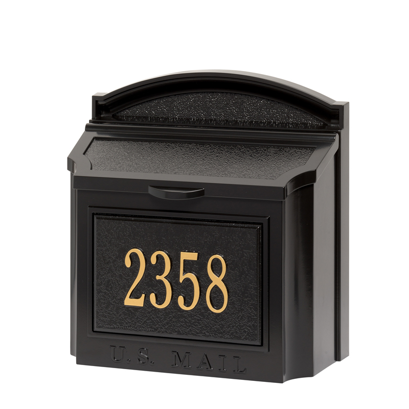 Whitehall Products Wall Mailbox Package - Black with Gold