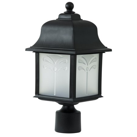 Outdoor Energy Saving Orchid Post Fixture,Black Fin,Frosted