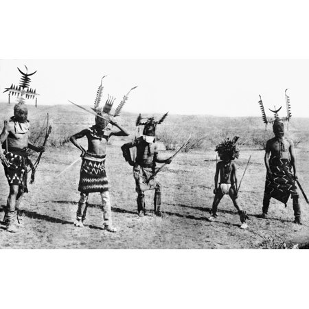 Apache Dance 1889 Nfour Costumed Apache Men Performing A Mountain Spirit Dance A Ritual In Which A Clown  Second From Right  Also Participates Photographed In 1889 By Katherine T Dodge Rolled Canvas A