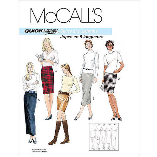 McCall's Pattern Misses' Skirts in 5 Lengths, DD (12, 14, 16, 18)