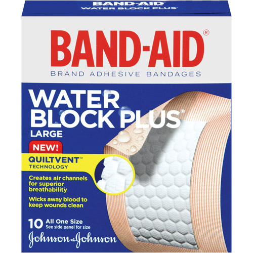 Band-Aid Brand Water Block Plus Adhesive Bandages, Large, 10 count
