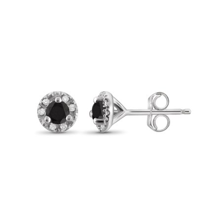 1/4 Carat T.W. Black and White Diamond Sterling Silver Stud Earrings