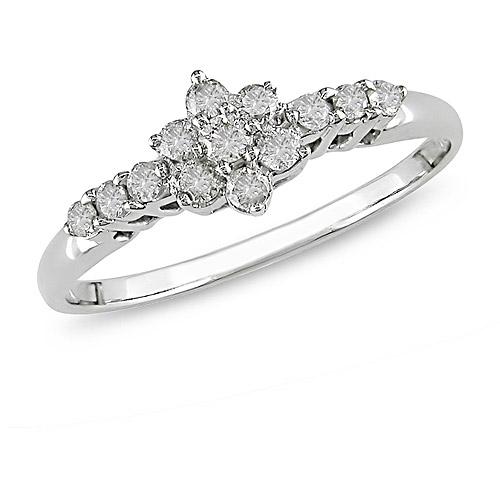 1/4 Carat T.W. Diamond Flower Engagement Ring in 10kt White Gold