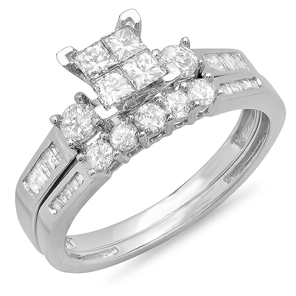 1.20 Carat (ctw) 10K Gold Princess, Round & Baguette Cut Diamond Engagement Ring Band Set 1 1/4 CT