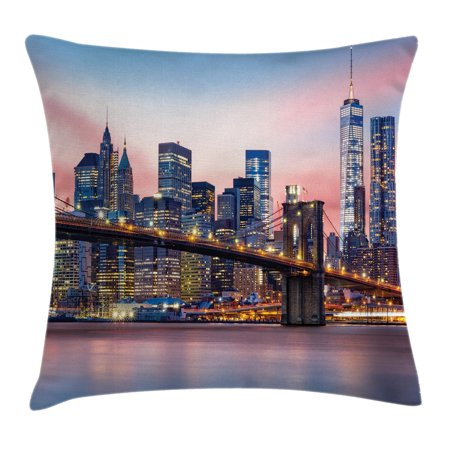 New York Throw Pillow Cushion Cover, Brooklyn Bridge and Lower Manhattan Skyline under Pink Sunrise Long Exposure Art Image, Decorative Square Accent Pillow Case, 16 X 16 Inches, Blue, by Ambesonne ()