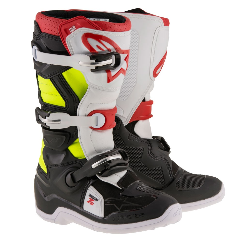 Alpinestars Tech 7S Youth MX Offroad Boots Black/Red/Yellow