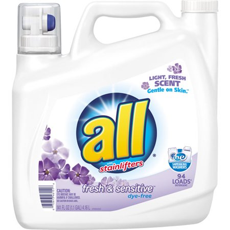 All With Stainlifters Fresh   Sensitive Dye Free Liquid Laundry Detergent  94 Loads  141 Fl Oz