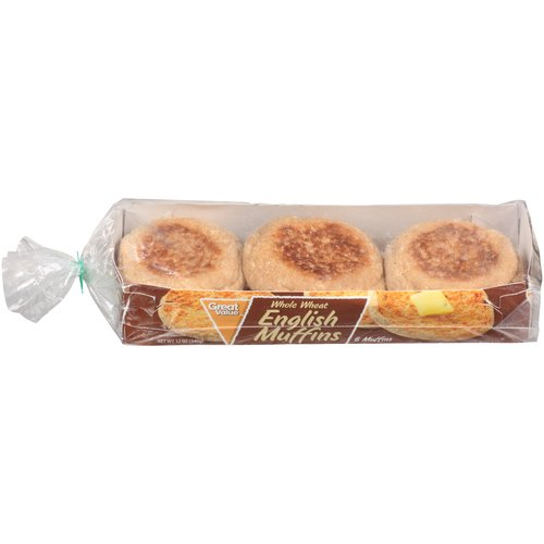 Great Value Whole Wheat English Muffins, 12 oz