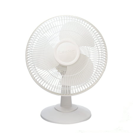 Lasko 12u0022 3-Speed Oscillating Table Fan with Tilt-back, Model 2012, White