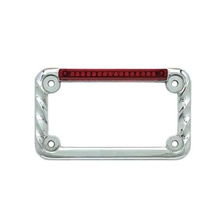 Signal Dynamics 02002 LED License Plate Frame with Turn Signals - Twisted Chrome with Red Lens