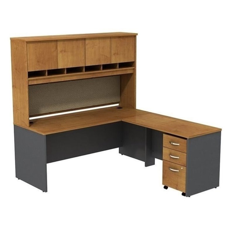 "Bowery Hill 72"" L-Shaped Desk with Hutch in Natural Cherry"