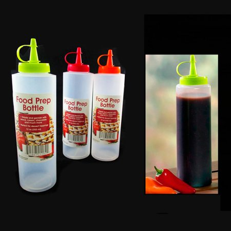 4 Pc Clear Plastic Ketchup Bottles Squeeze Mustard Oil Mayo Bottle Sauce 12oz ()