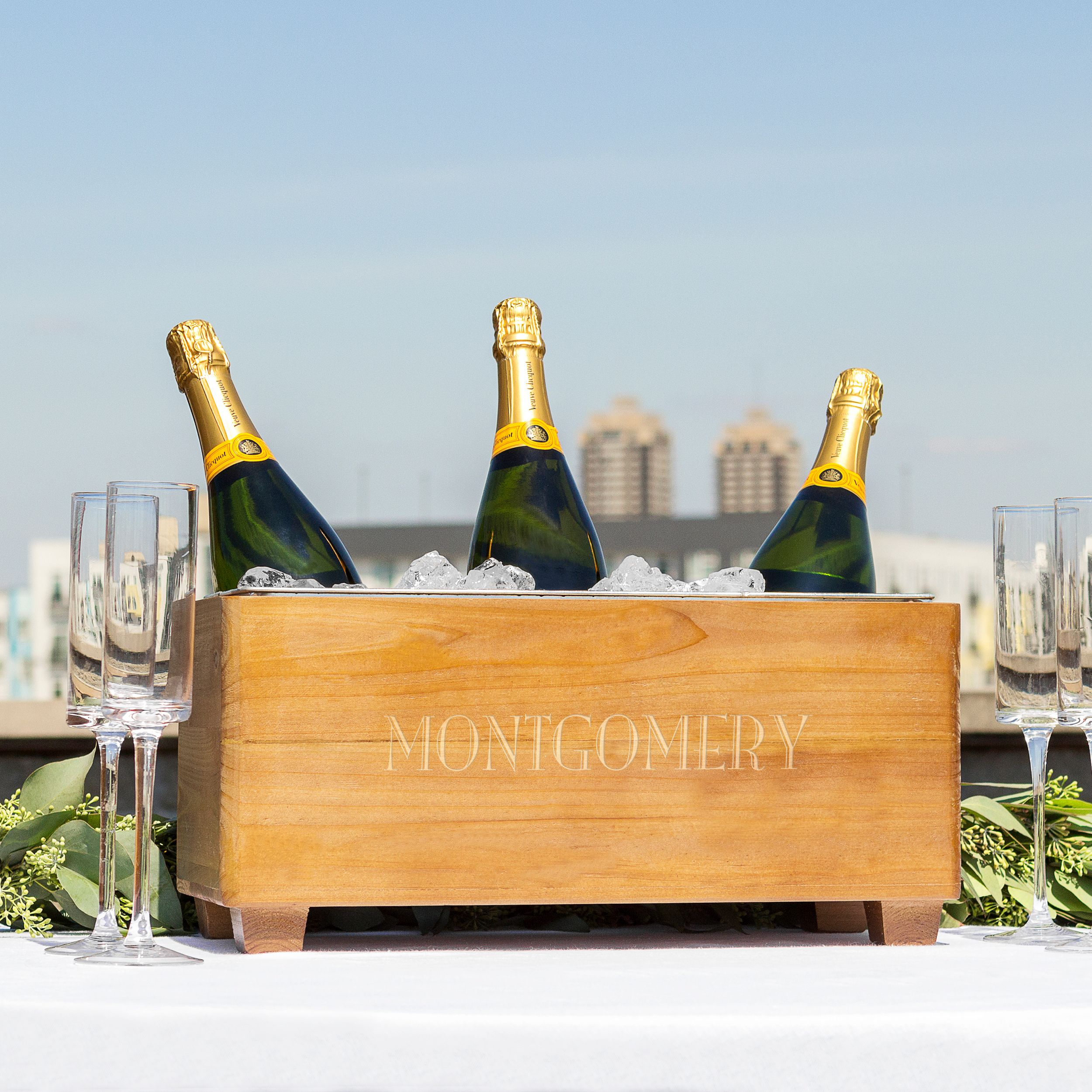 Personalized Wood Wine Trough