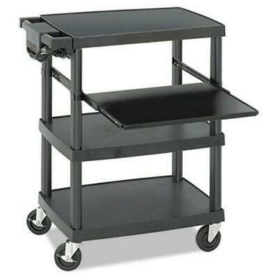Safco Multimedia Projector Cart, 4-Shelf, Plastic, Black