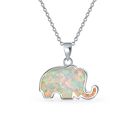 - Good Lucky Elephant White Rainbow Created Opal Pendant Necklace For Women Girlfriend 925 Sterling Silver