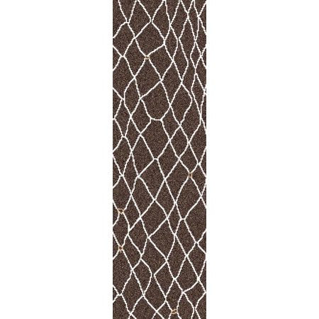2.5' x 8' Gated Monsoon Chocolate Brown, Beige and Tan Hand Woven Wool Area Throw Rug (Wool Hand Woven Chocolate)