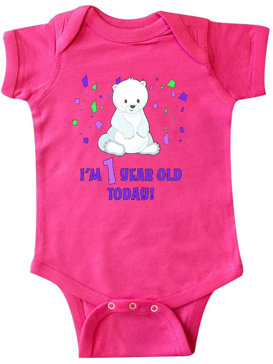 inktastic Girls 1st Birthday Teddy Bear Long Sleeve Creeper