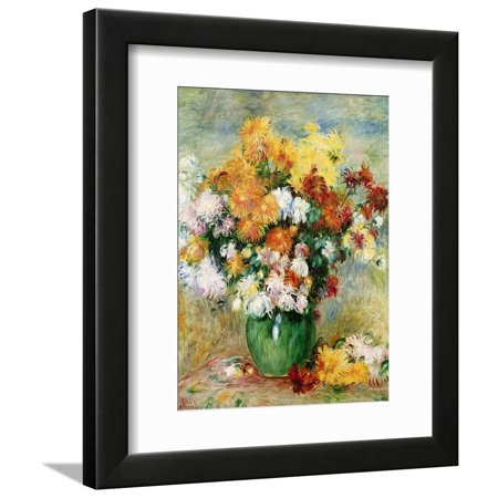 Bouquet of Chrysanthemums, circa 1884 Flower Still Life Bouquet Painting Framed Print Wall Art By Pierre-Auguste Renoir