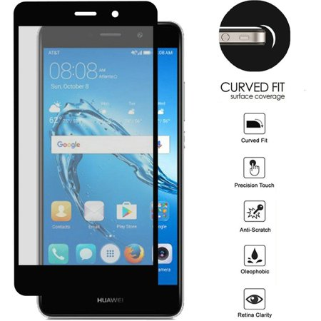 Insten Full Coverage Tempered Glass Screen Protector LCD Film Guard Shield  for Huawei Ascend XT2, Black
