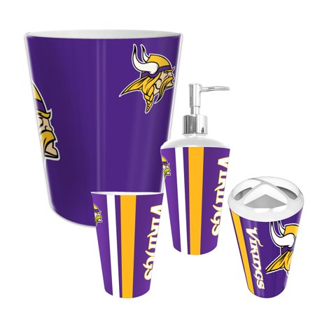 minnesota vikings nfl complete bathroom accessories 4pc