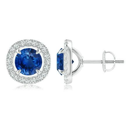 Sae Stud (September Birthstone Earrings - Vintage Style Sapphire and Diamond Halo Stud Earrings in 14K White Gold (6mm Blue Sapphire) - SE1088SD-WG-AAA-6)