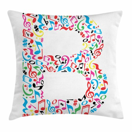 Letter B Throw Pillow Cushion Cover  Colorful Silhouette Of B With Do Re Mi Symbols Art School Alphabet Design Words  Decorative Square Accent Pillow Case  24 X 24 Inches  Multicolor  By Ambesonne